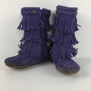 Minnetonka | Purple Fringe Suede Boots size 10